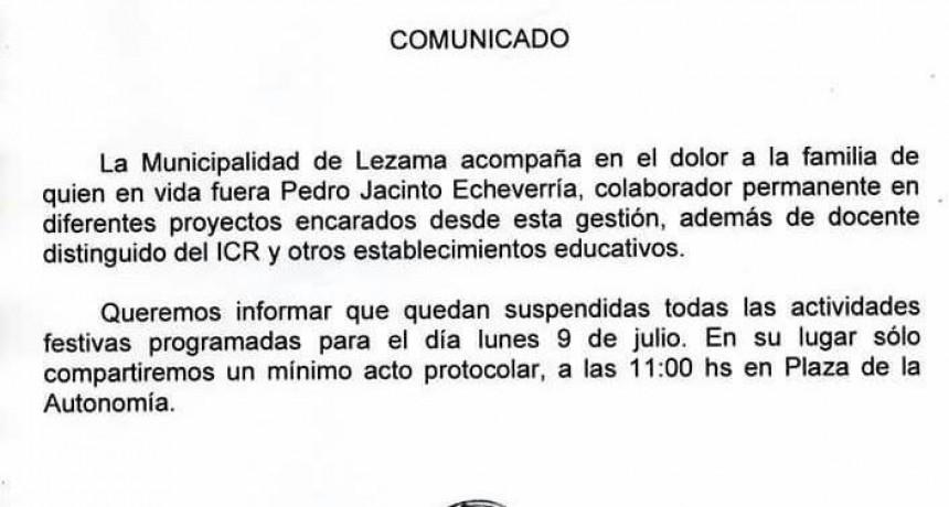 Se suspendieron los actos del 9 de Julio