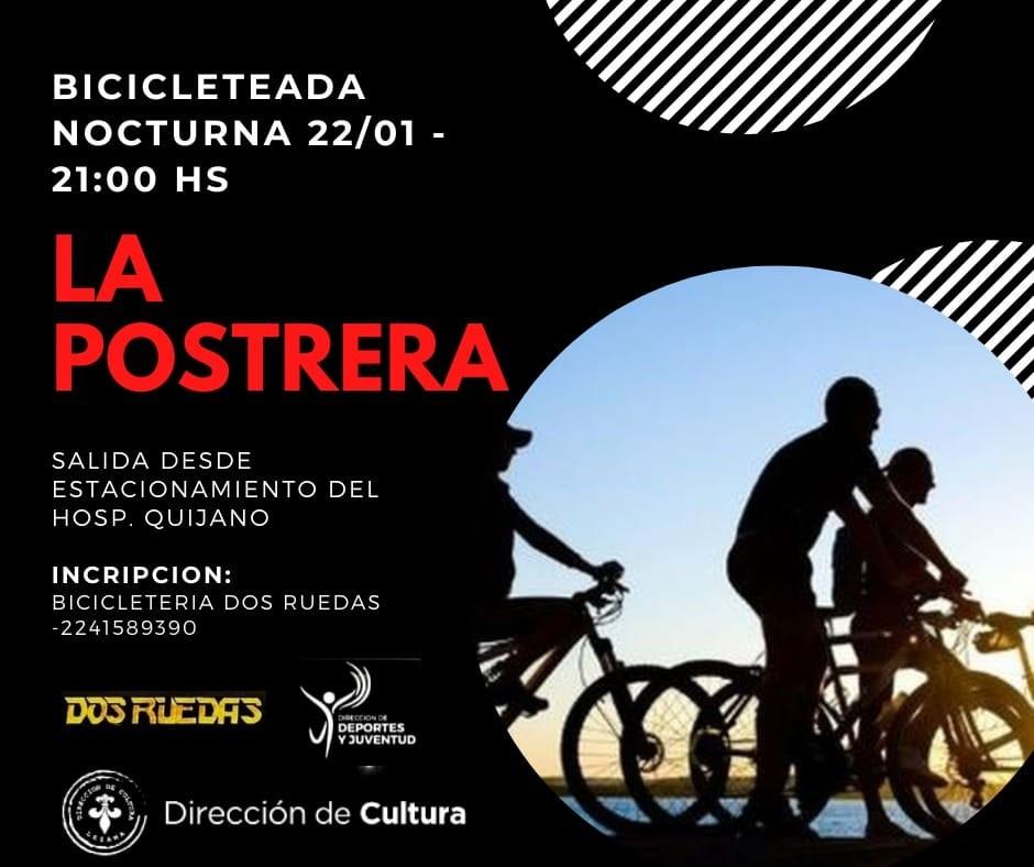 Todo listo para la primera bicicleteada nocturna a La Postrera