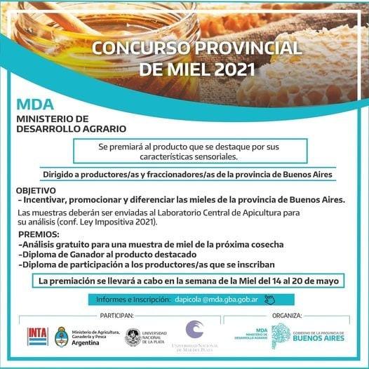 Atención Apicultores de la zona: está abierta la inscripción en el Concurso Provincial de la Miel 2021